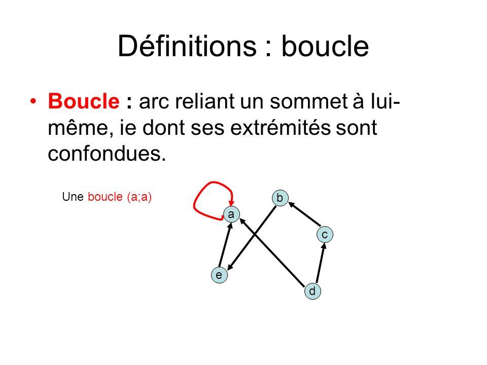Définitions : boucle Boucle : arc reliant un sommet à lui- même, ie dont ses extrémités sont confondues.