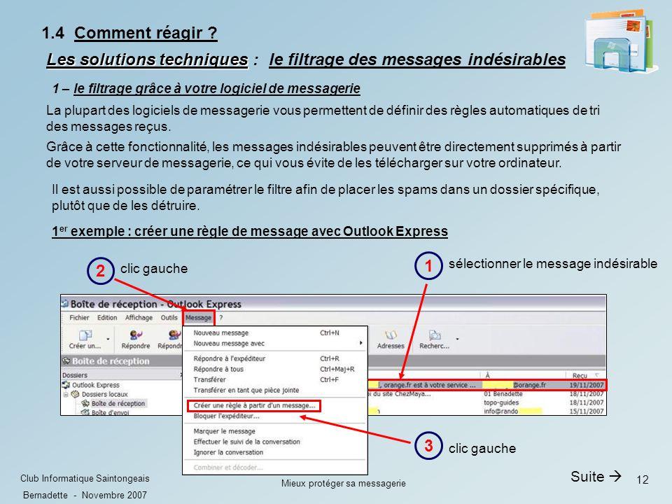 12 Club Informatique Saintongeais Bernadette - Novembre 2007 Mieux protéger sa messagerie 1.4 Comment réagir .