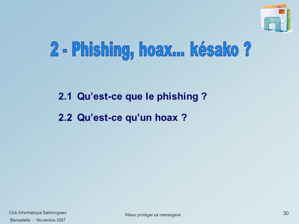 30 Club Informatique Saintongeais Bernadette - Novembre 2007 Mieux protéger sa messagerie 2.1 Quest-ce que le phishing .