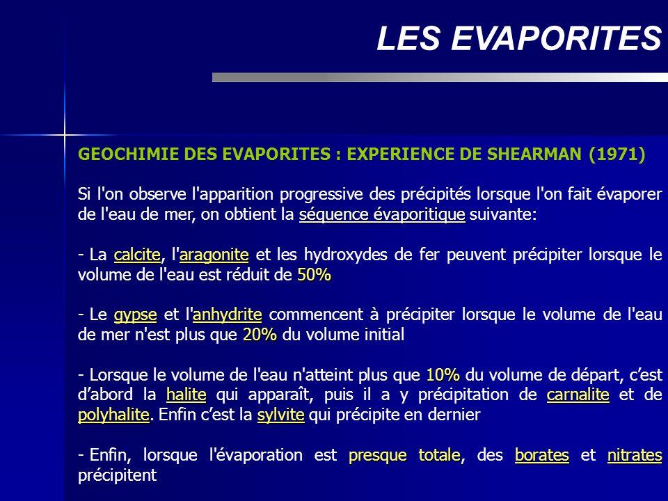 GEOCHIMIE DES EVAPORITES : EXPERIENCE DE SHEARMAN (1971) séquence évaporitique Si l'on observe l'apparition progressive des précipités lorsque l'on fa