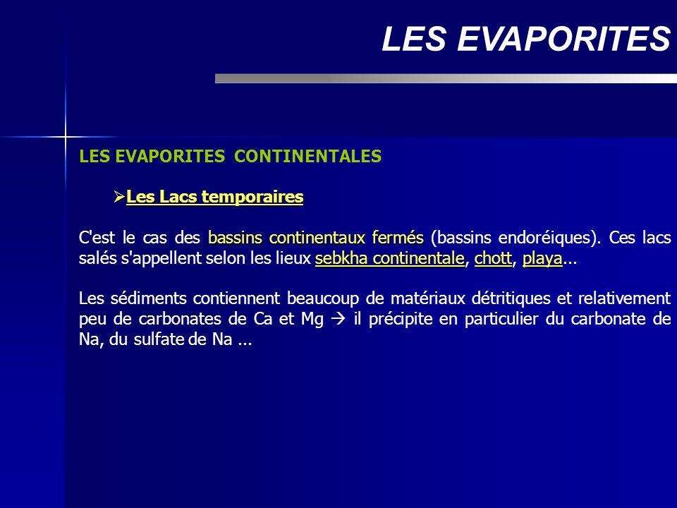 LES EVAPORITES CONTINENTALES Les Lacs temporaires Les Lacs temporaires bassins continentaux fermés sebkha continentalechottplaya C'est le cas des bass