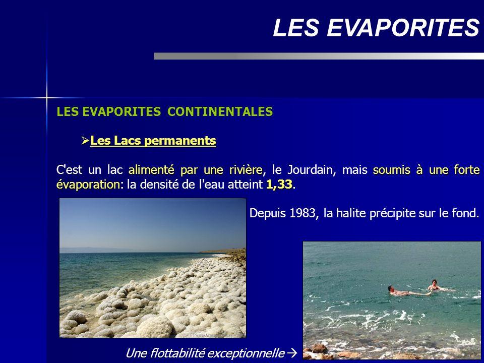 LES EVAPORITES CONTINENTALES Les Lacs permanents Les Lacs permanents alimenté par une rivièresoumis à une forte évaporation1,33 C'est un lac alimenté