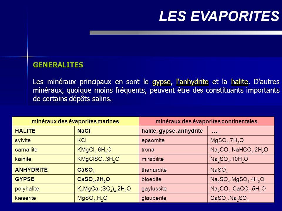GENERALITES gypsel'anhydritehalite Les minéraux principaux en sont le gypse, l'anhydrite et la halite. D'autres minéraux, quoique moins fréquents, peu