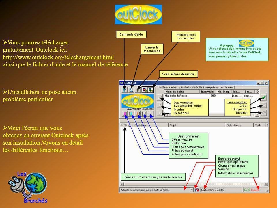 Voici l écran que vous obtenez en ouvrant Outclock après son installation.Voyons en détail les différentes fonctions… Vous pourrez télécharger gratuitement Outclock ici: http://www.outclock.org/telechargement.html ainsi que le fichier d aide et le manuel de référence L installation ne pose aucun problème particulier