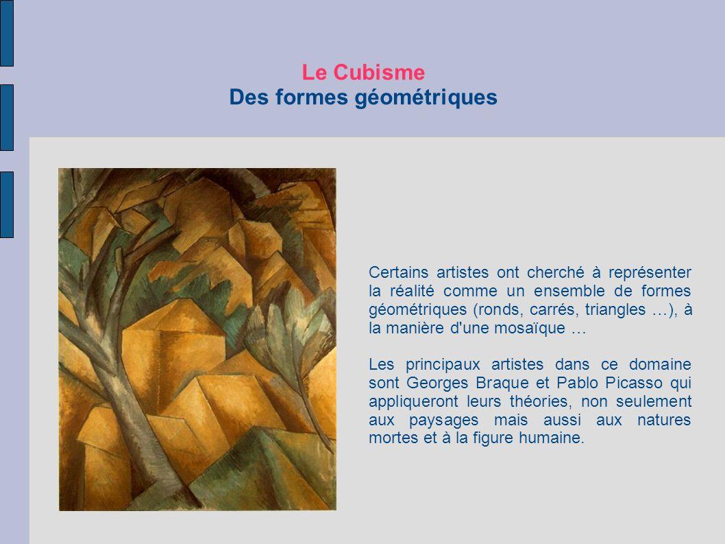 Le Cubisme Des formes géométriques Certains artistes ont cherché à représenter la réalité comme un ensemble de formes géométriques (ronds, carrés, tri