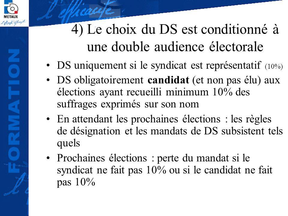 4) Le choix du DS est conditionné à une double audience électorale DS uniquement si le syndicat est représentatif (10%) DS obligatoirement candidat (e