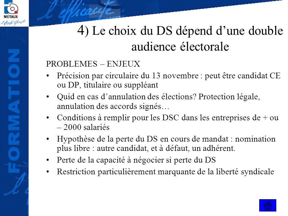 4 ) Le choix du DS dépend dune double audience électorale PROBLEMES – ENJEUX Précision par circulaire du 13 novembre : peut être candidat CE ou DP, ti