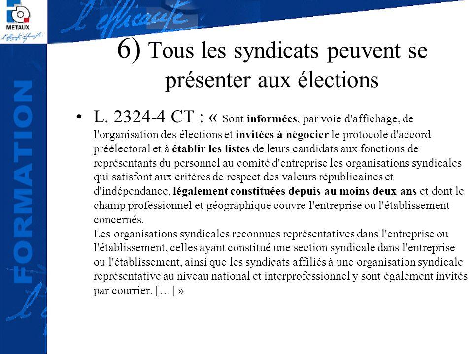 6) Tous les syndicats peuvent se présenter aux élections L. 2324-4 CT : « Sont informées, par voie d'affichage, de l'organisation des élections et inv