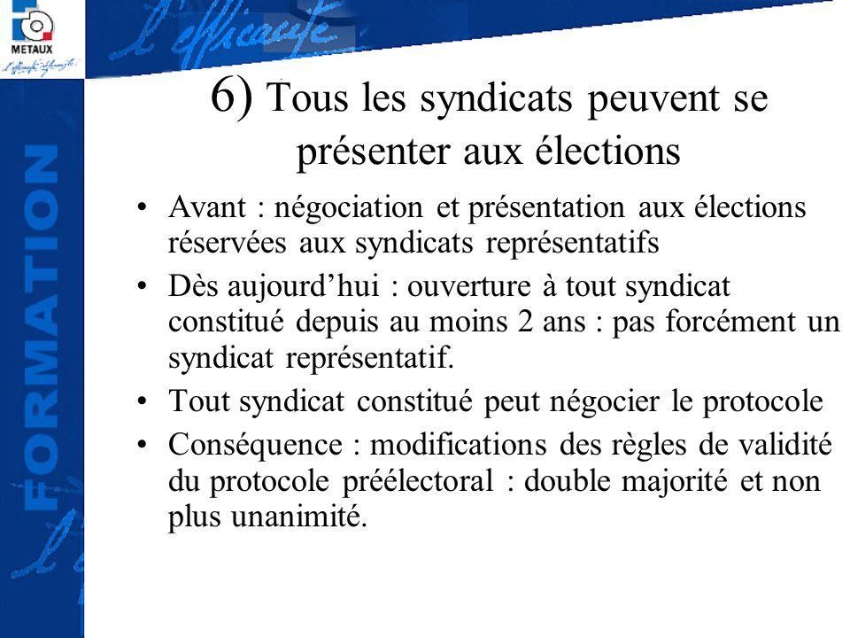6) Tous les syndicats peuvent se présenter aux élections Avant : négociation et présentation aux élections réservées aux syndicats représentatifs Dès