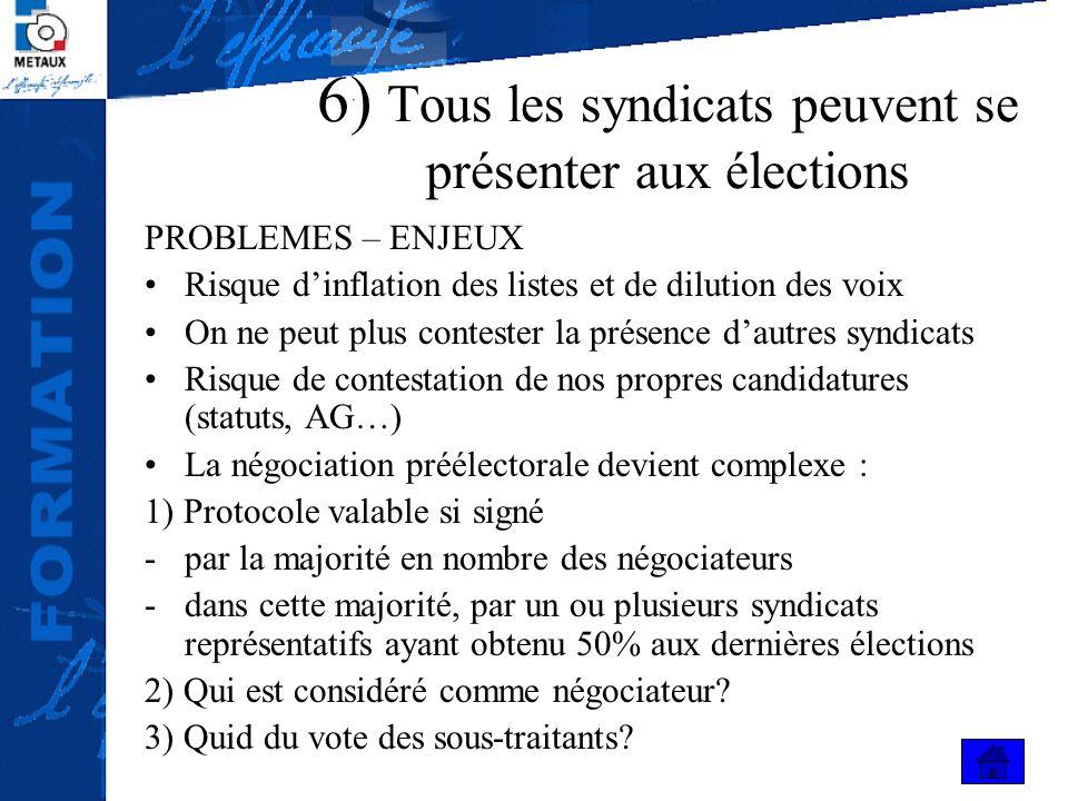 6) Tous les syndicats peuvent se présenter aux élections PROBLEMES – ENJEUX Risque dinflation des listes et de dilution des voix On ne peut plus conte