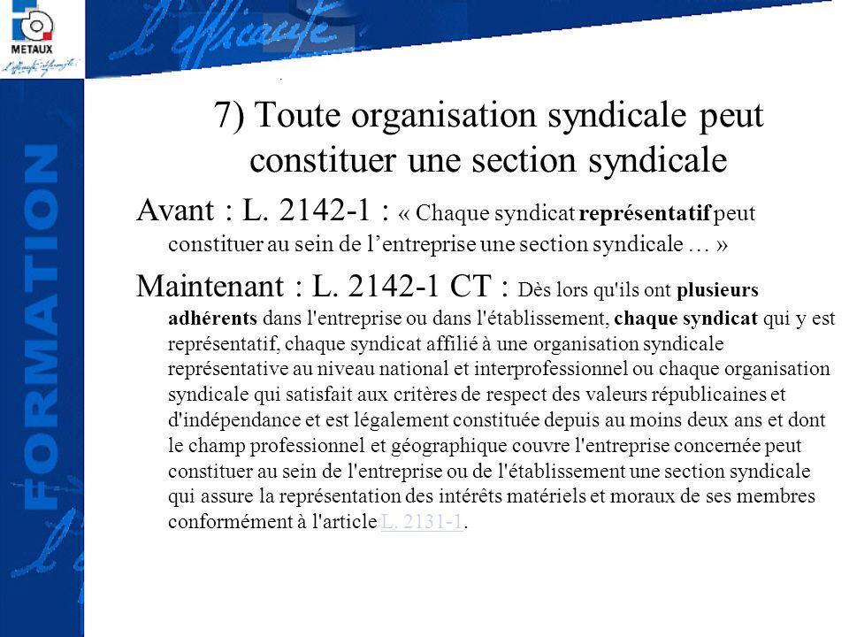 7) Toute organisation syndicale peut constituer une section syndicale Avant : L. 2142-1 : « Chaque syndicat représentatif peut constituer au sein de l