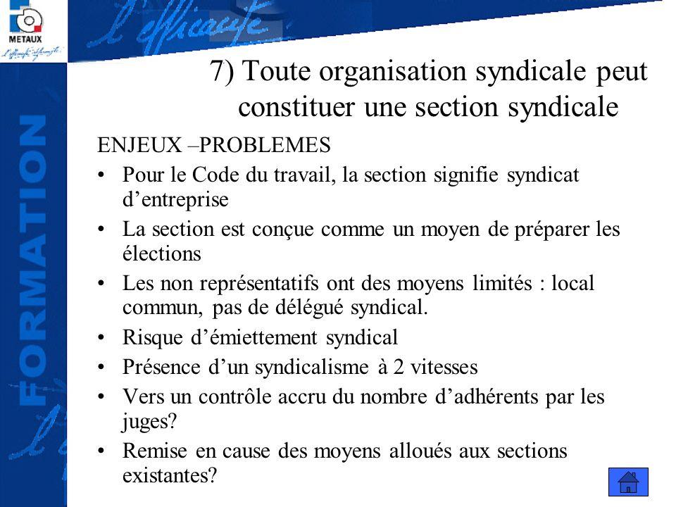 7) Toute organisation syndicale peut constituer une section syndicale ENJEUX –PROBLEMES Pour le Code du travail, la section signifie syndicat dentrepr