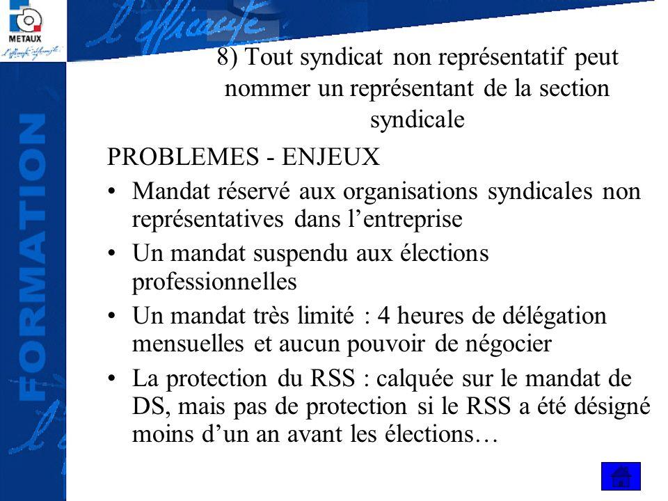 8) Tout syndicat non représentatif peut nommer un représentant de la section syndicale PROBLEMES - ENJEUX Mandat réservé aux organisations syndicales