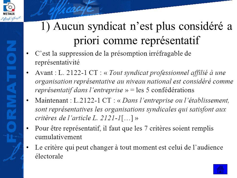 1) Aucun syndicat nest plus considéré a priori comme représentatif Cest la suppression de la présomption irréfragable de représentativité Avant : L. 2