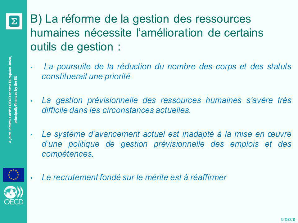 © OECD A joint initiative of the OECD and the European Union, principally financed by the EU B) La réforme de la gestion des ressources humaines néces