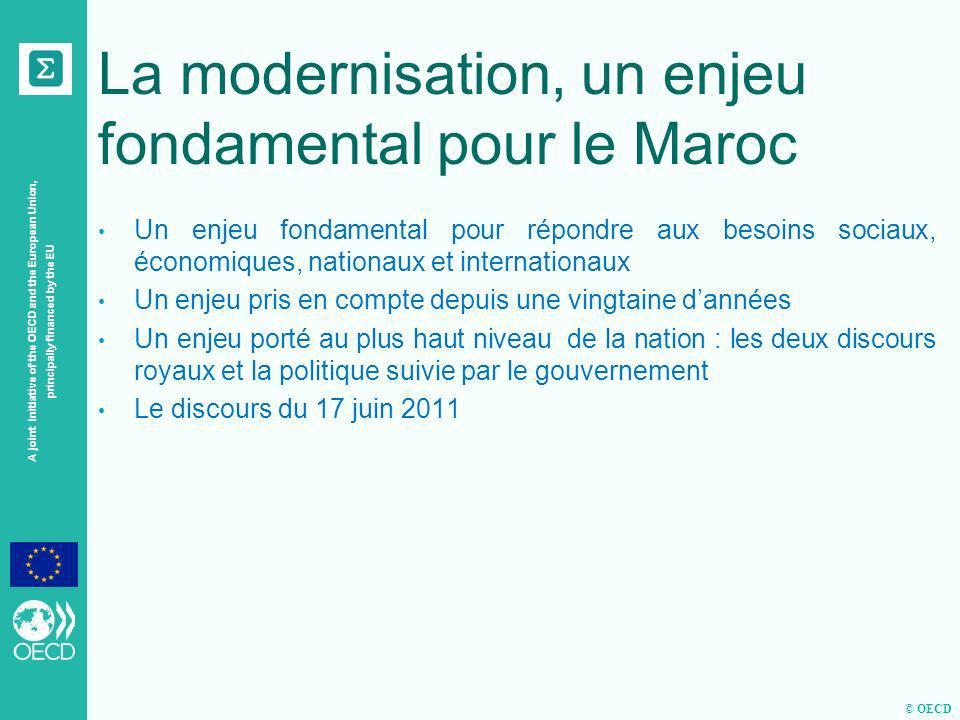 © OECD A joint initiative of the OECD and the European Union, principally financed by the EU La modernisation, un enjeu fondamental pour le Maroc Un e