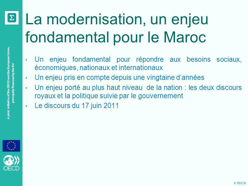 © OECD A joint initiative of the OECD and the European Union, principally financed by the EU Les conditions de létude Une étude demandée par le MMSP à Sigma Objectif de létude : lévaluation comparative de la modernisation de la fonction publique dEtat au Maroc Quest-ce que la modernisation de ladministration .