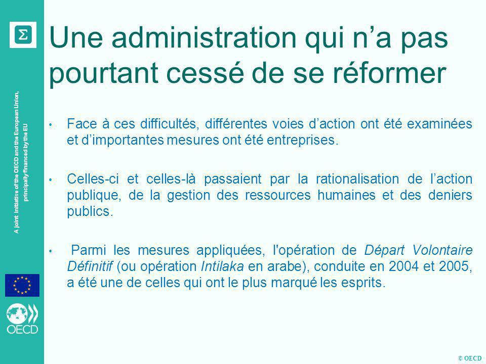 © OECD A joint initiative of the OECD and the European Union, principally financed by the EU Quelques chiffres En 2002, le Maroc consacrait 45,27 % de ses dépenses publiques totales aux charges de personnel, ce pourcentage nétait plus que de 38,61 % en 2010.