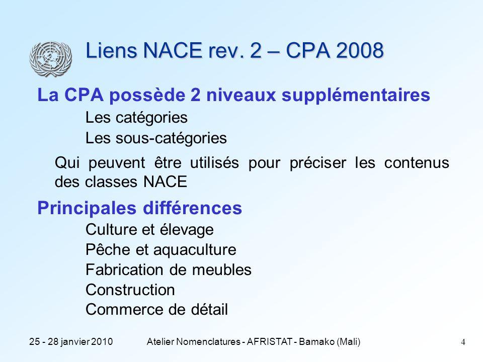 25 - 28 janvier 2010Atelier Nomenclatures - AFRISTAT - Bamako (Mali)5 Le lien NACE rev.