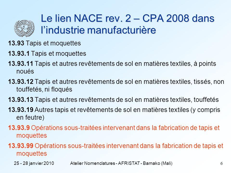 25 - 28 janvier 2010Atelier Nomenclatures - AFRISTAT - Bamako (Mali)7 Le lien NACE rev.