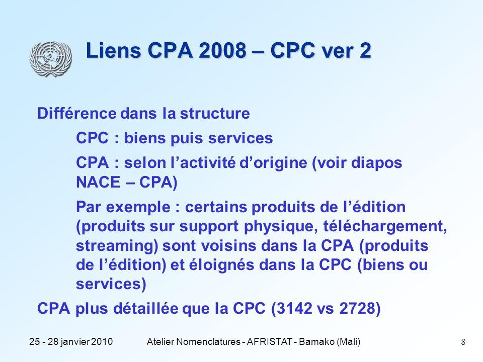 25 - 28 janvier 2010Atelier Nomenclatures - AFRISTAT - Bamako (Mali)9 Liens CPA 2008 – CPC ver 2 CPA globalement plus détaillée que la CPC (3142 vs 2728), malgré tout elle est moins détaillée dans de nombreux cas Soit, parce que la CPA a été réduite lors de la révision (env 125 cas) Par exemple : la CPA regroupe les céréales et les semences Certains produits de lélevage (bovin, canards...) Tissus (détaillés selon la composition des tissus) Soit, parce que la CPC est devenue plus détaillée, la CPA restant inchangée (environ 20 cas) Exemple du tabac brut Il y a environ 75 cas de différences entre la CPA et CPC existant avant la révision et qui subsistent après la révision