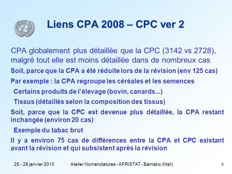 25 - 28 janvier 2010Atelier Nomenclatures - AFRISTAT - Bamako (Mali) 10 Réseau des principales nomenclatures économiques NAF CPF PRODCOM NACE CPC CITI ProduitsActivités Niveau national Niveau européen Niveau international SH NC NGP CPA PRODFRA Enquêtes de production Echanges extérieurs Lien CITI – CPC : m à n Lien NACE- CPA : 1 à n
