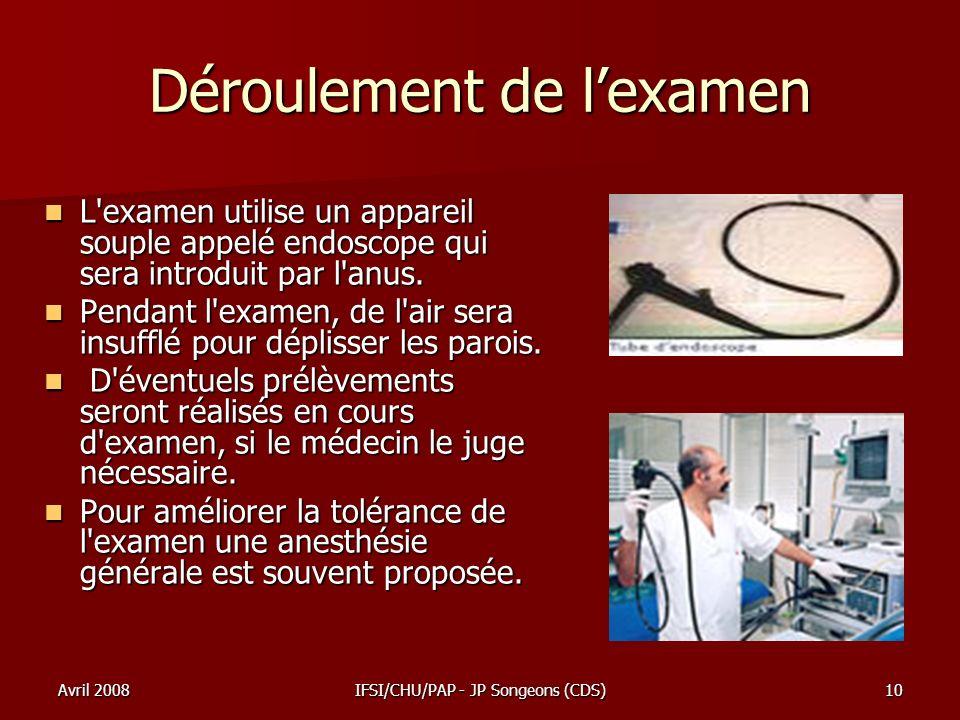 Avril 2008IFSI/CHU/PAP - JP Songeons (CDS)10 Déroulement de lexamen L'examen utilise un appareil souple appelé endoscope qui sera introduit par l'anus
