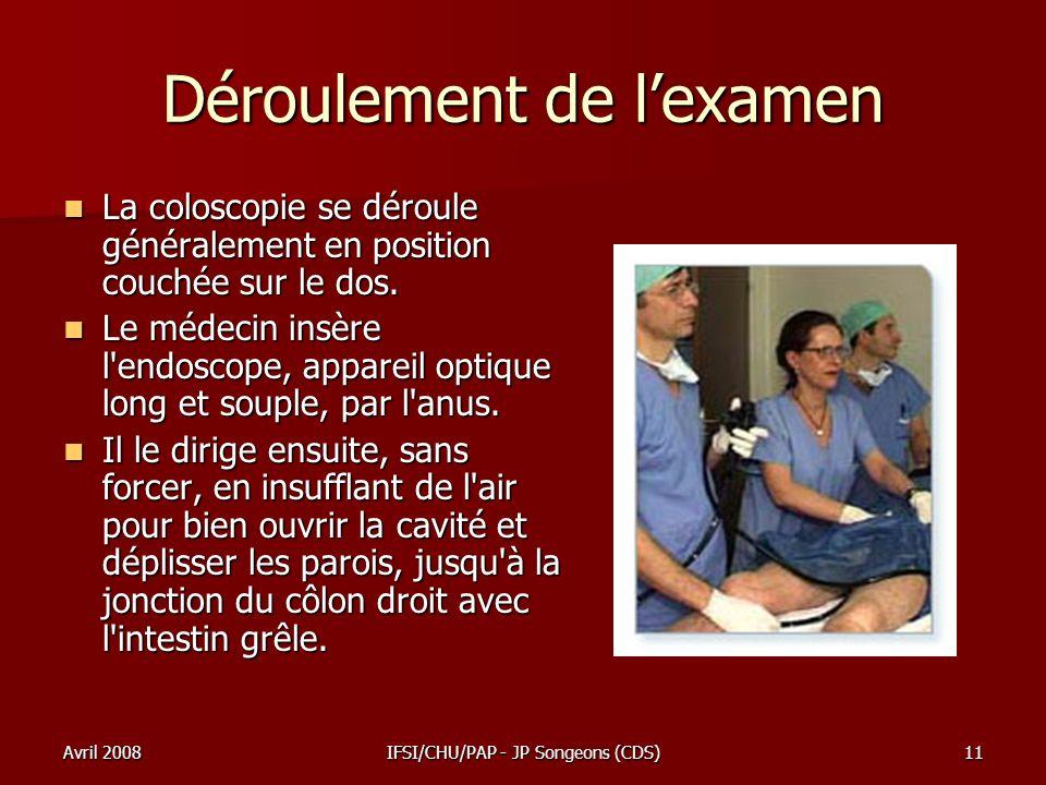 Avril 2008IFSI/CHU/PAP - JP Songeons (CDS)11 Déroulement de lexamen La coloscopie se déroule généralement en position couchée sur le dos. La coloscopi