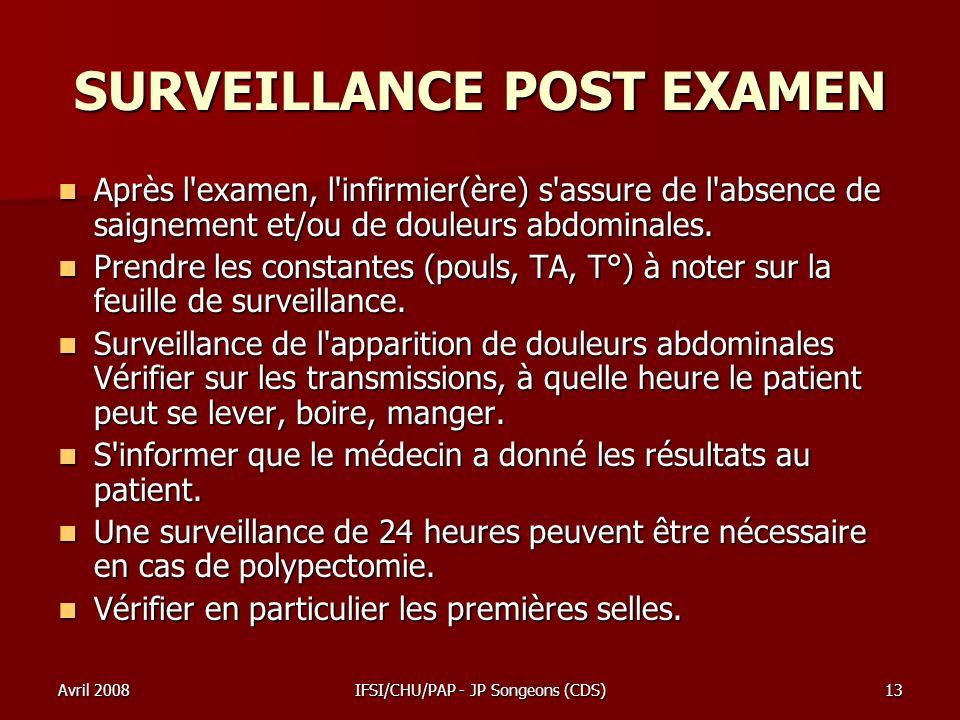 Avril 2008IFSI/CHU/PAP - JP Songeons (CDS)13 SURVEILLANCE POST EXAMEN Après l'examen, l'infirmier(ère) s'assure de l'absence de saignement et/ou de do