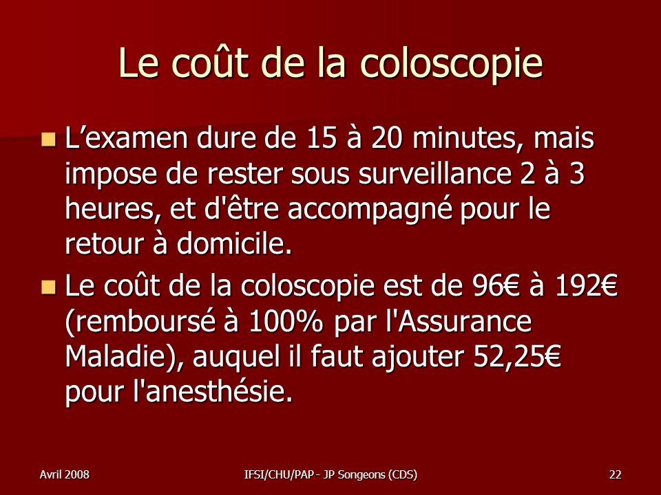 Avril 2008IFSI/CHU/PAP - JP Songeons (CDS)22 Le coût de la coloscopie Lexamen dure de 15 à 20 minutes, mais impose de rester sous surveillance 2 à 3 h