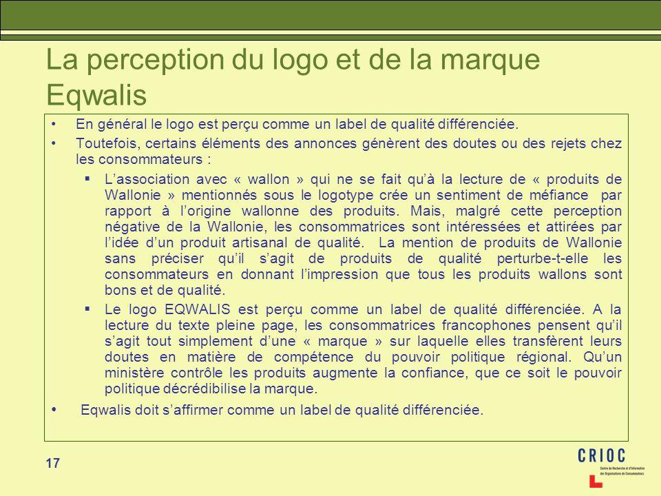 17 La perception du logo et de la marque Eqwalis En général le logo est perçu comme un label de qualité différenciée. Toutefois, certains éléments des