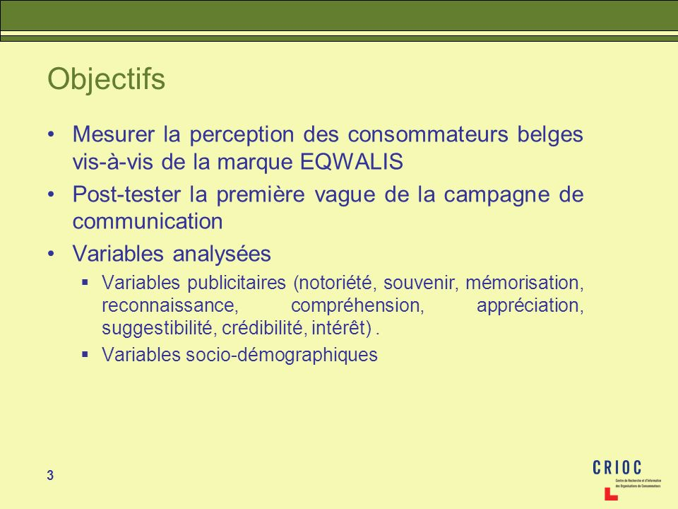 3 Objectifs Mesurer la perception des consommateurs belges vis-à-vis de la marque EQWALIS Post-tester la première vague de la campagne de communicatio