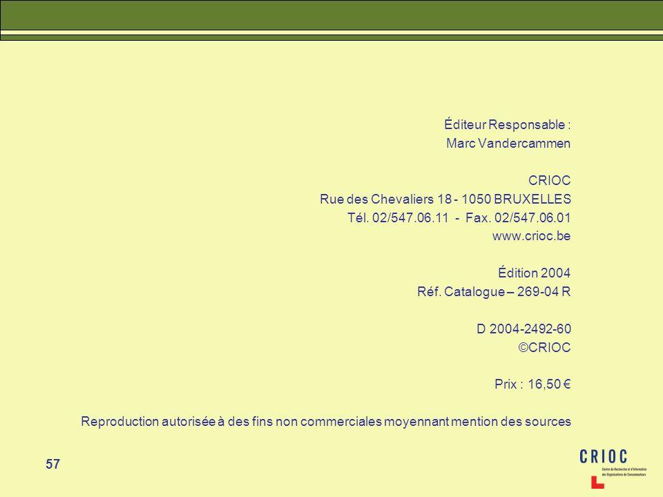 57 Éditeur Responsable : Marc Vandercammen CRIOC Rue des Chevaliers 18 - 1050 BRUXELLES Tél. 02/547.06.11 - Fax. 02/547.06.01 www.crioc.be Édition 200
