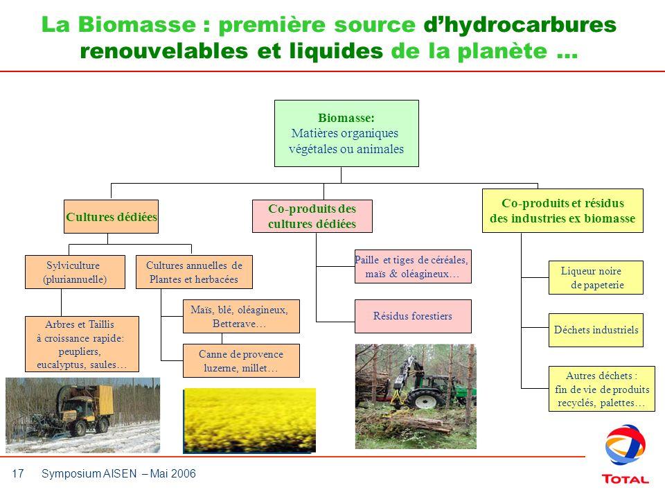 17 Symposium AISEN – Mai 2006 La Biomasse : première source dhydrocarbures renouvelables et liquides de la planète … Biomasse: Matières organiques vég