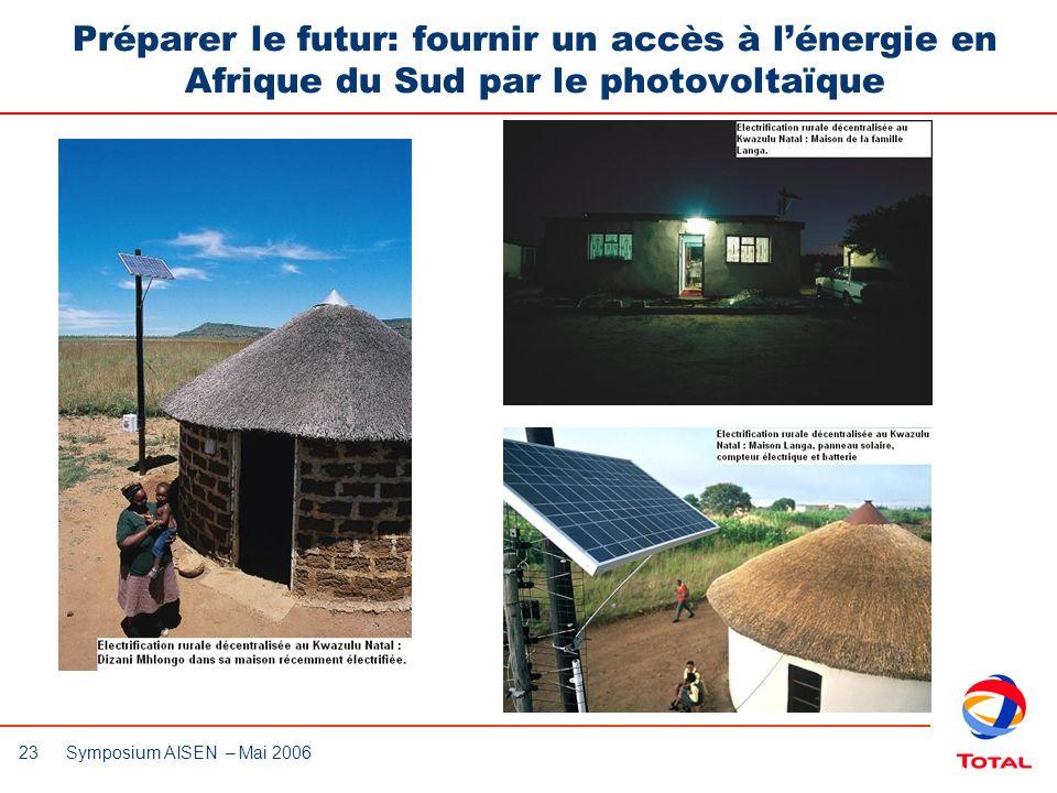 23 Symposium AISEN – Mai 2006 Préparer le futur: fournir un accès à lénergie en Afrique du Sud par le photovoltaïque