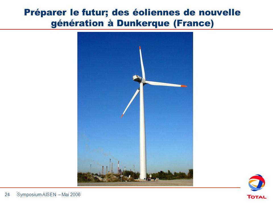 24 Symposium AISEN – Mai 2006 Préparer le futur; des éoliennes de nouvelle génération à Dunkerque (France)