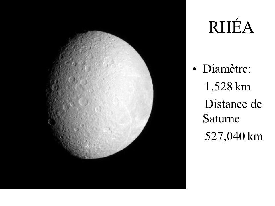 RHÉA Diamètre: 1,528 km Distance de Saturne 527,040 km