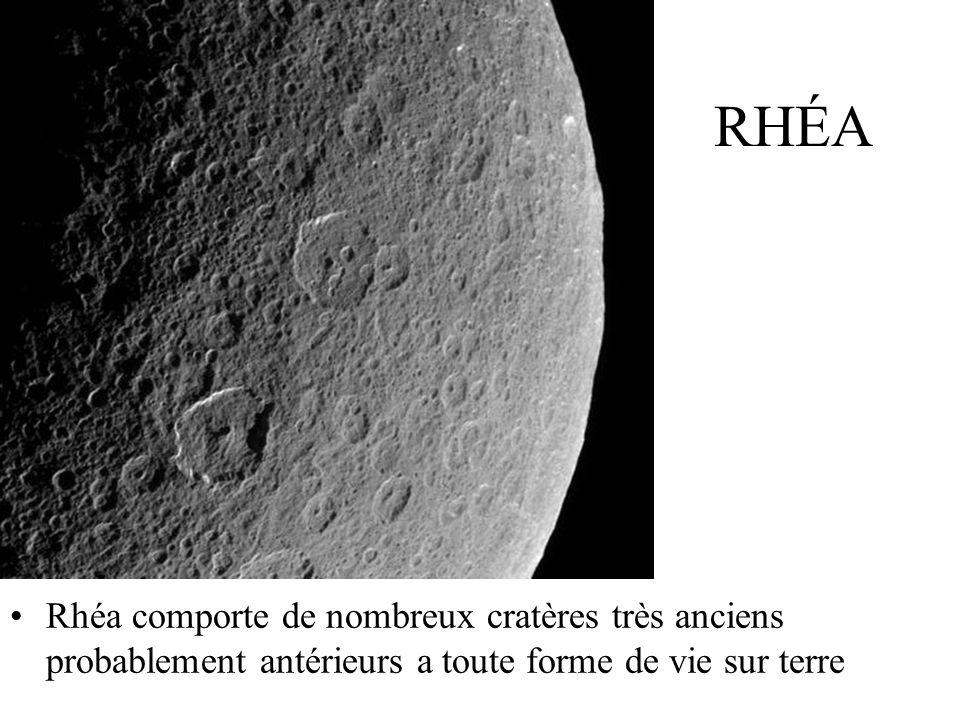 RHÉA Rhéa comporte de nombreux cratères très anciens probablement antérieurs a toute forme de vie sur terre