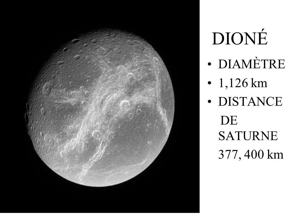 DIONÉ DIAMÈTRE 1,126 km DISTANCE DE SATURNE 377, 400 km