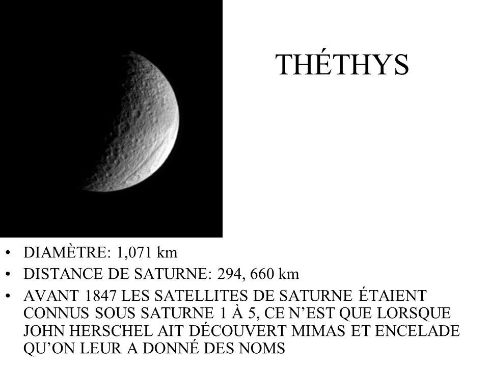 THÉTHYS DIAMÈTRE: 1,071 km DISTANCE DE SATURNE: 294, 660 km AVANT 1847 LES SATELLITES DE SATURNE ÉTAIENT CONNUS SOUS SATURNE 1 À 5, CE NEST QUE LORSQU