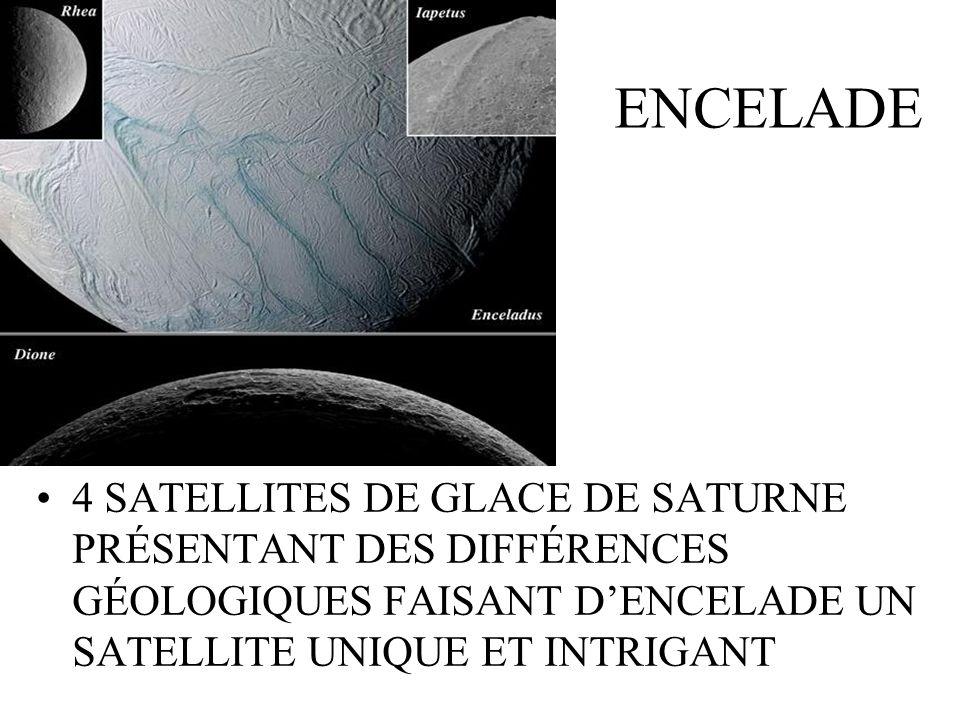 ENCELADE 4 SATELLITES DE GLACE DE SATURNE PRÉSENTANT DES DIFFÉRENCES GÉOLOGIQUES FAISANT DENCELADE UN SATELLITE UNIQUE ET INTRIGANT