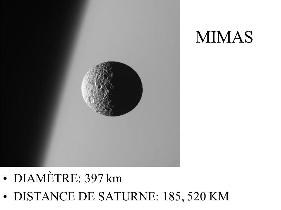 MIMAS DIAMÈTRE: 397 km DISTANCE DE SATURNE: 185, 520 KM