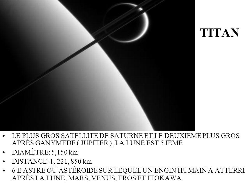 TITAN LE PLUS GROS SATELLITE DE SATURNE ET LE DEUXIÈME PLUS GROS APRÈS GANYMÈDE ( JUPITER ), LA LUNE EST 5 IÈME DIAMÈTRE: 5,150 km DISTANCE: 1, 221, 8