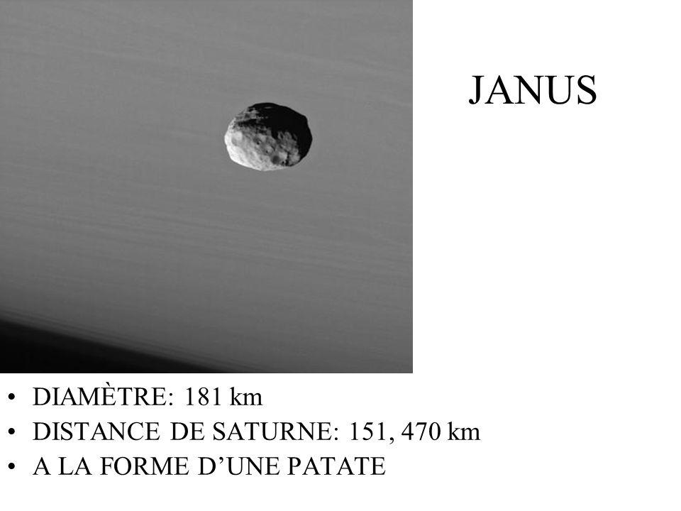 JANUS DIAMÈTRE: 181 km DISTANCE DE SATURNE: 151, 470 km A LA FORME DUNE PATATE