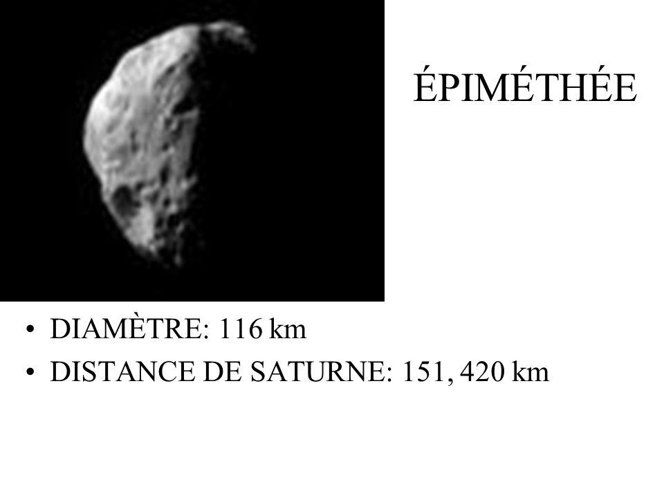 ÉPIMÉTHÉE DIAMÈTRE: 116 km DISTANCE DE SATURNE: 151, 420 km