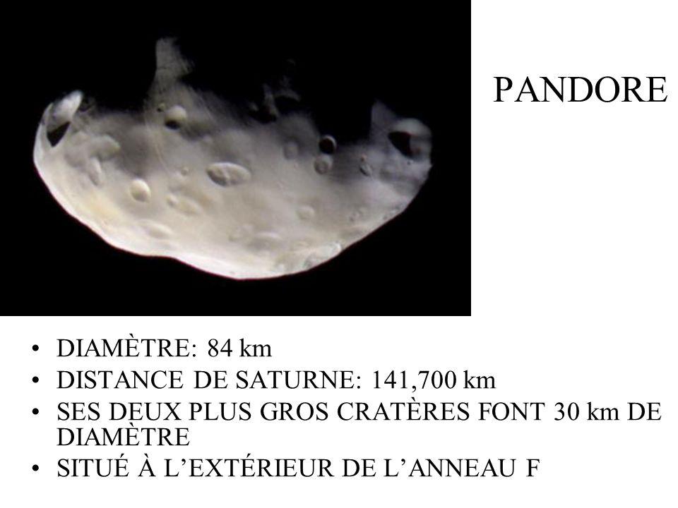 PANDORE DIAMÈTRE: 84 km DISTANCE DE SATURNE: 141,700 km SES DEUX PLUS GROS CRATÈRES FONT 30 km DE DIAMÈTRE SITUÉ À LEXTÉRIEUR DE LANNEAU F