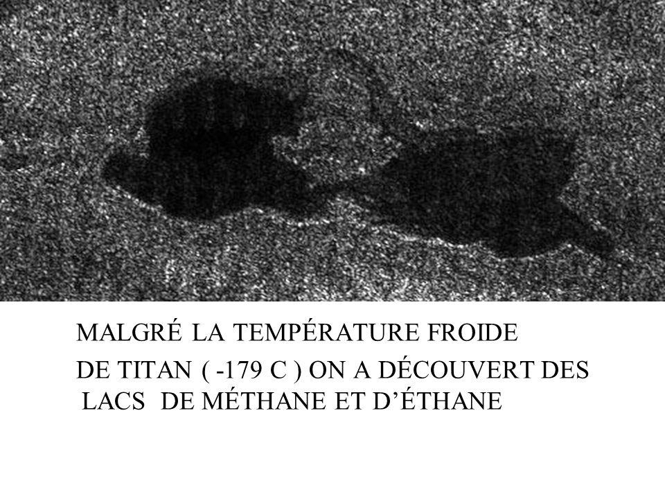 MALGRÉ LA TEMPÉRATURE FROIDE DE TITAN ( -179 C ) ON A DÉCOUVERT DES LACS DE MÉTHANE ET DÉTHANE