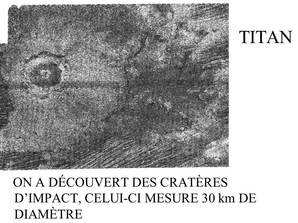 TITAN ON A DÉCOUVERT DES CRATÈRES DIMPACT, CELUI-CI MESURE 30 km DE DIAMÈTRE