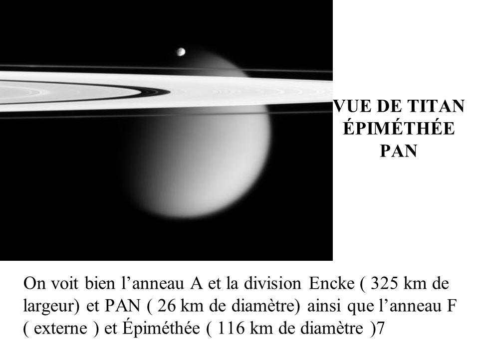 VUE DE TITAN ÉPIMÉTHÉE PAN On voit bien lanneau A et la division Encke ( 325 km de largeur) et PAN ( 26 km de diamètre) ainsi que lanneau F ( externe