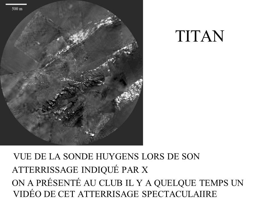 TITAN Atmosphère Les molécules de méthane sont brisées par les rayons UV du Soleil pour former de léthane et de lacétylène Latmosphère actuel de Titan serait semblable à latmosphère primitive de la Terre à cause des molécules organiques qui pourraient être à lorigine de la vie sur Terre